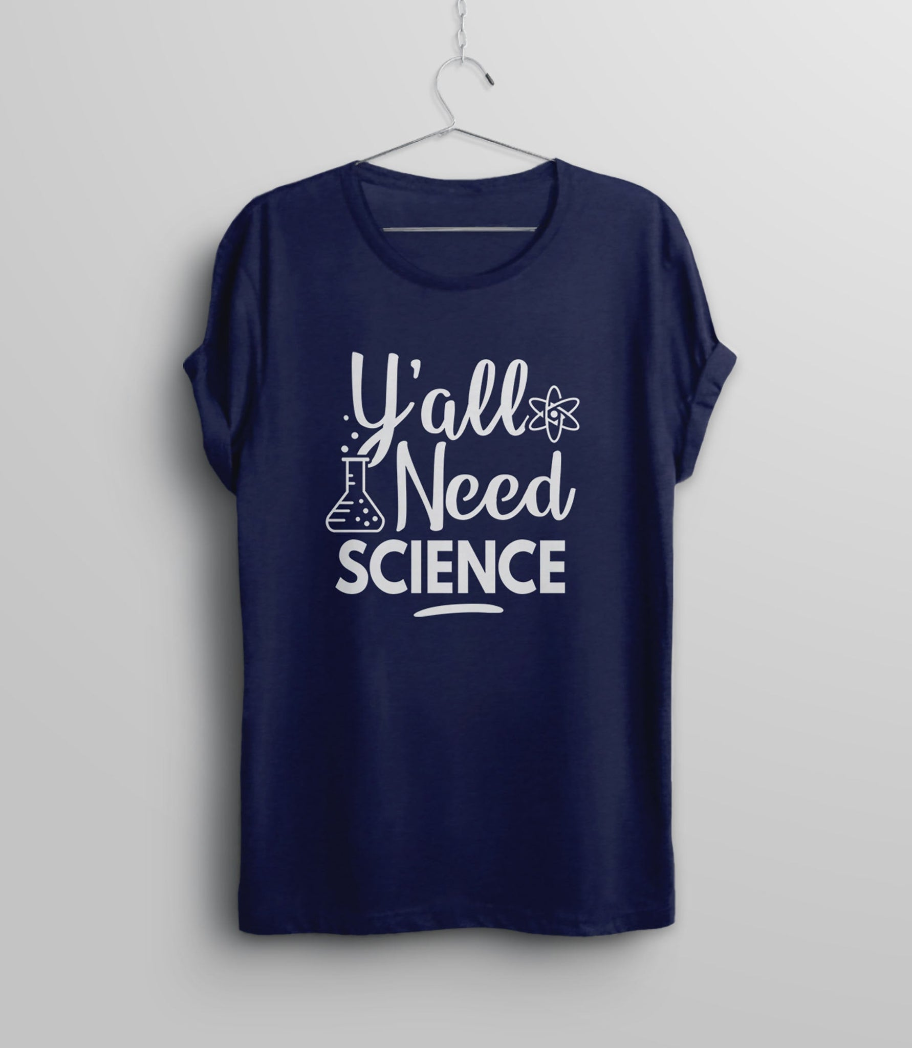 Y'All Need Science Shirt, Navy Blue Unisex XS by BootsTees