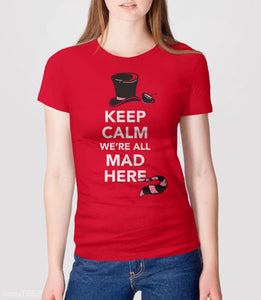 Alice in Wonderland Shirt, Red Unisex XS by BootsTees