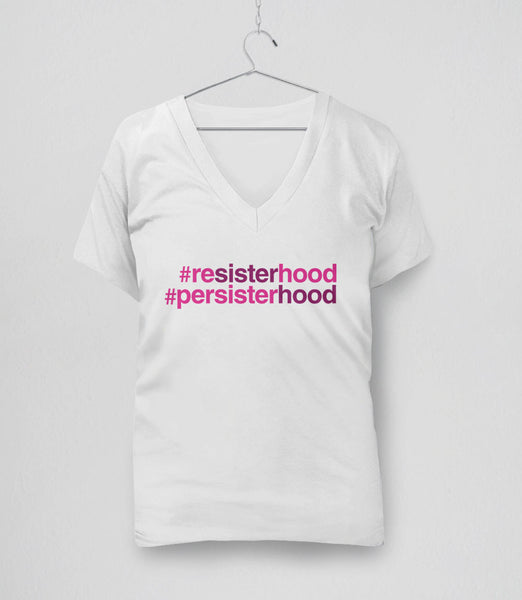 Resisterhood Persisterhood t-shirt - white womens v-neck tee
