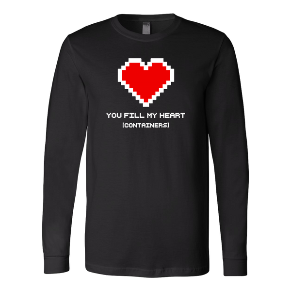 You Fill My Heart Containers Long Sleeve Tee - black romantic geek gift