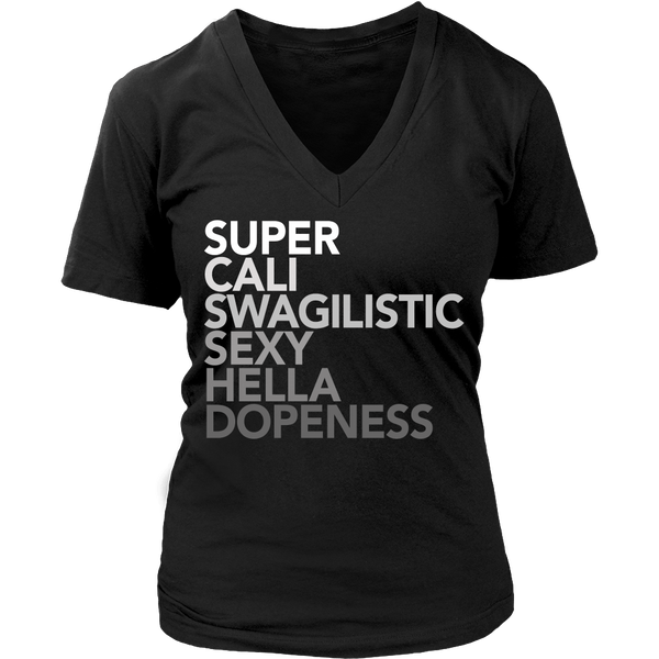 Super Cali Swagalistic, Black Womens V-Neck by BootsTees