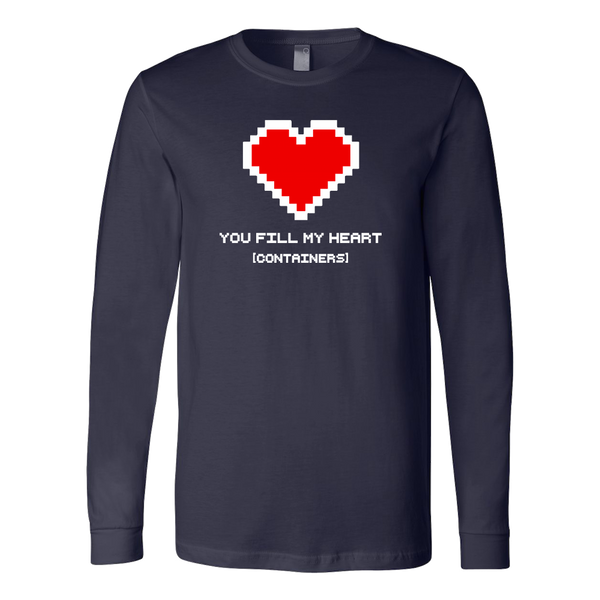 You Fill My Heart Containers Long Sleeve Tee - navy romantic geek gift