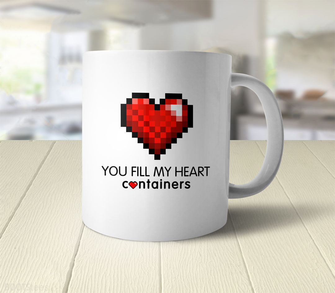 Video Game Geek Valentine's Day Gift Coffee Mug - you fill my heart containers