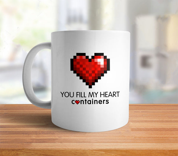 Video Game Geek Valentine's Day Gift Coffee Mug - you fill my heart containers - back