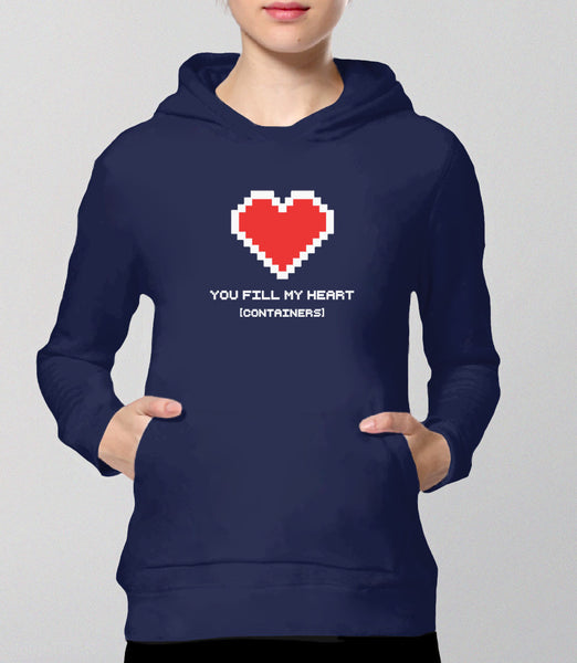 You Fill My Heart Containers Hoodie - navy romantic geek gift