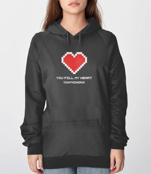 You Fill My Heart Containers Hoodie - charcoal romantic geek gift