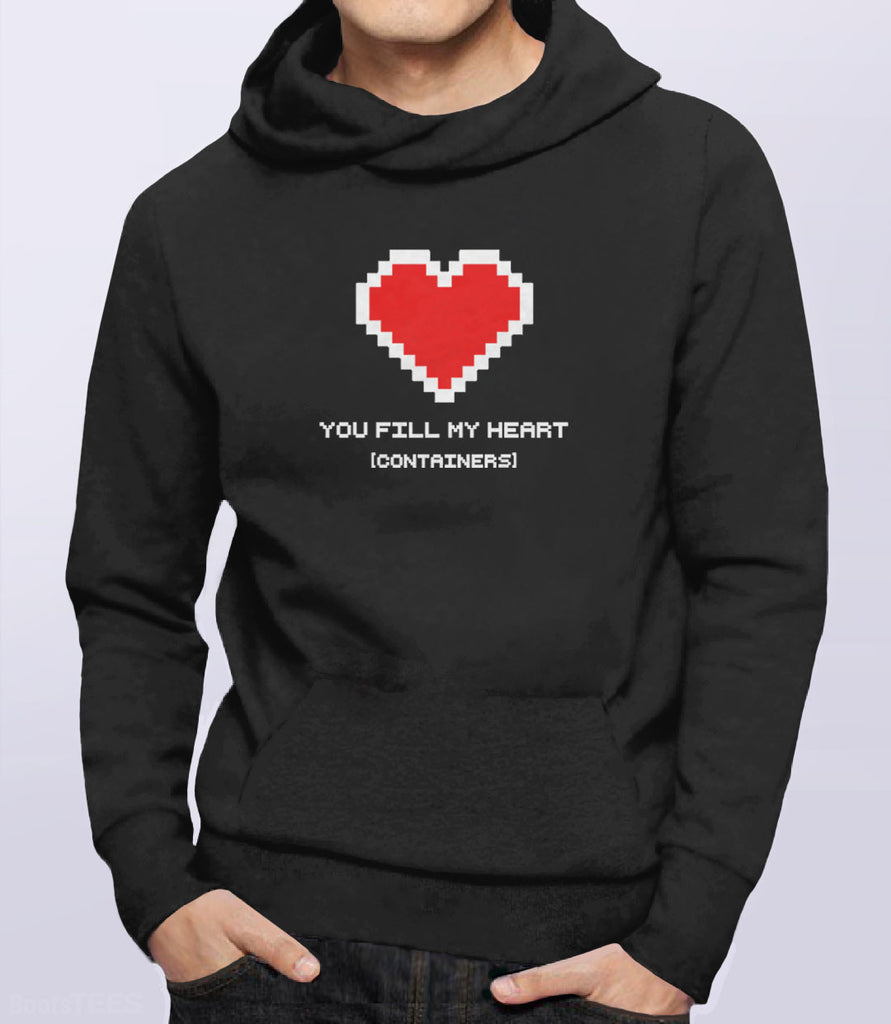 You Fill My Heart Containers Hoodie - black romantic geek gift