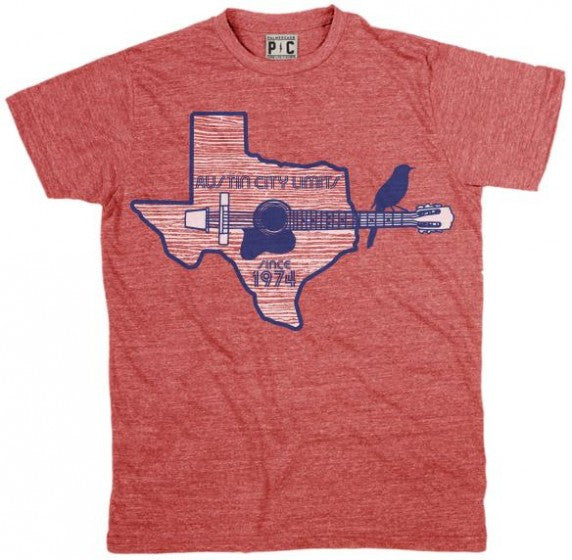 Heather Red Unisex Tee with ACL Logo and Texas Guitar Outline