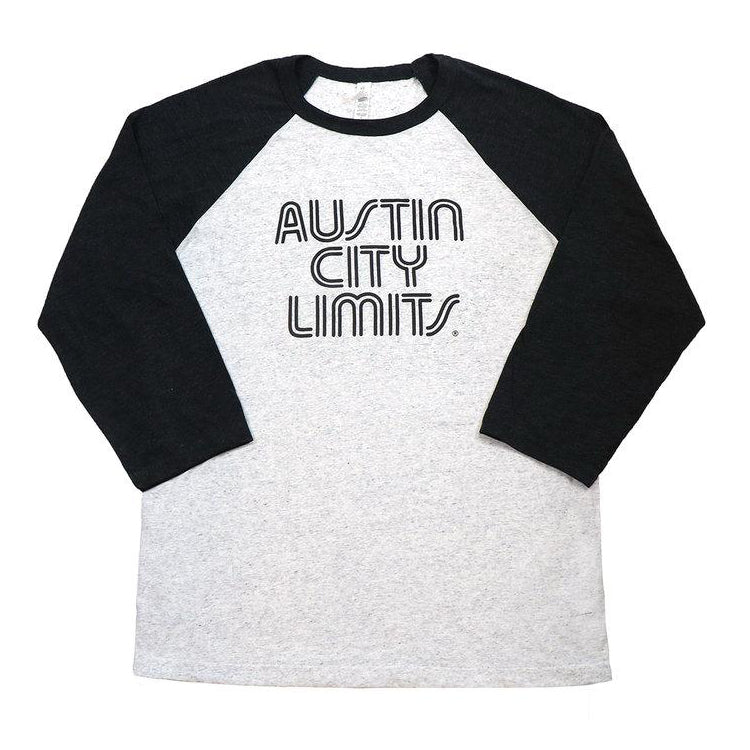 Vintage Black & White Fleck Unisex Baseball Tee with Black ACL Logo