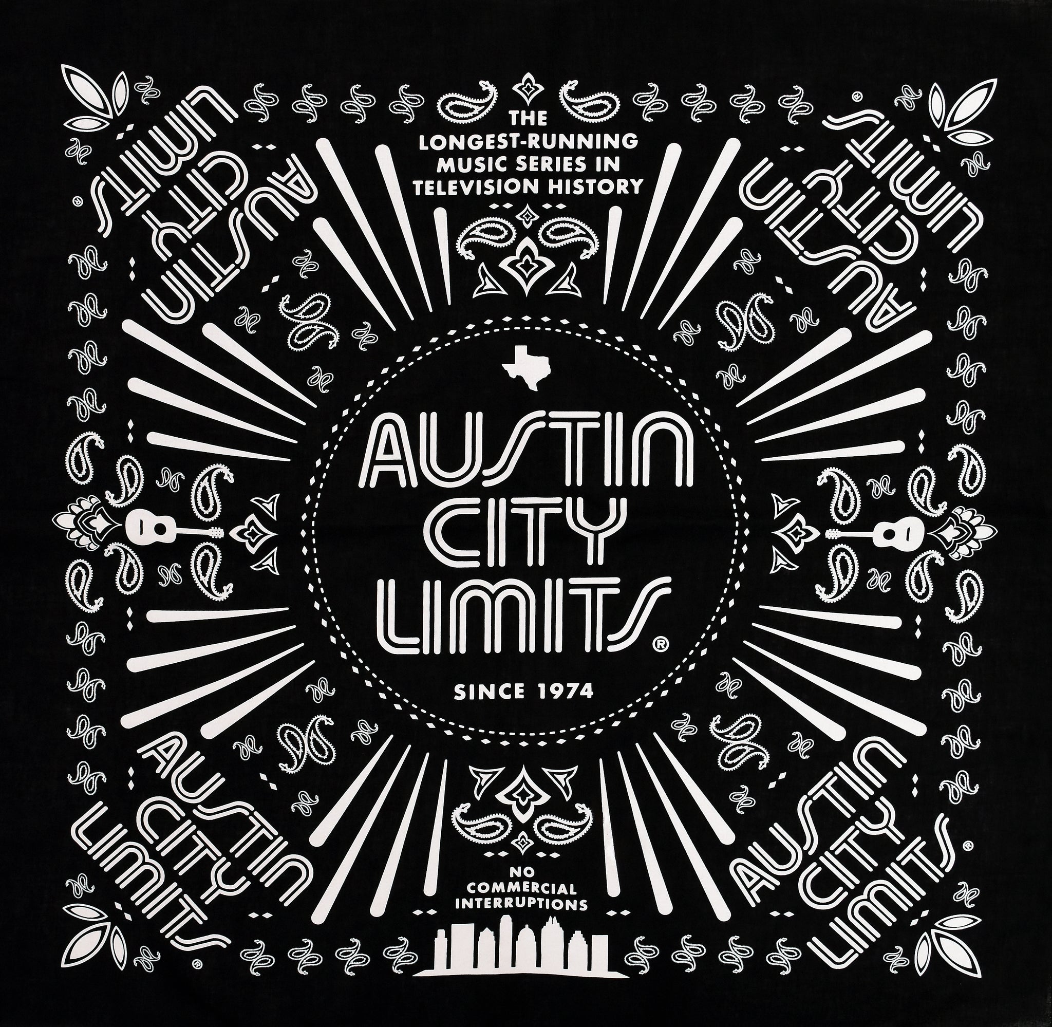 Austin City Limits Black Paisley Bandana