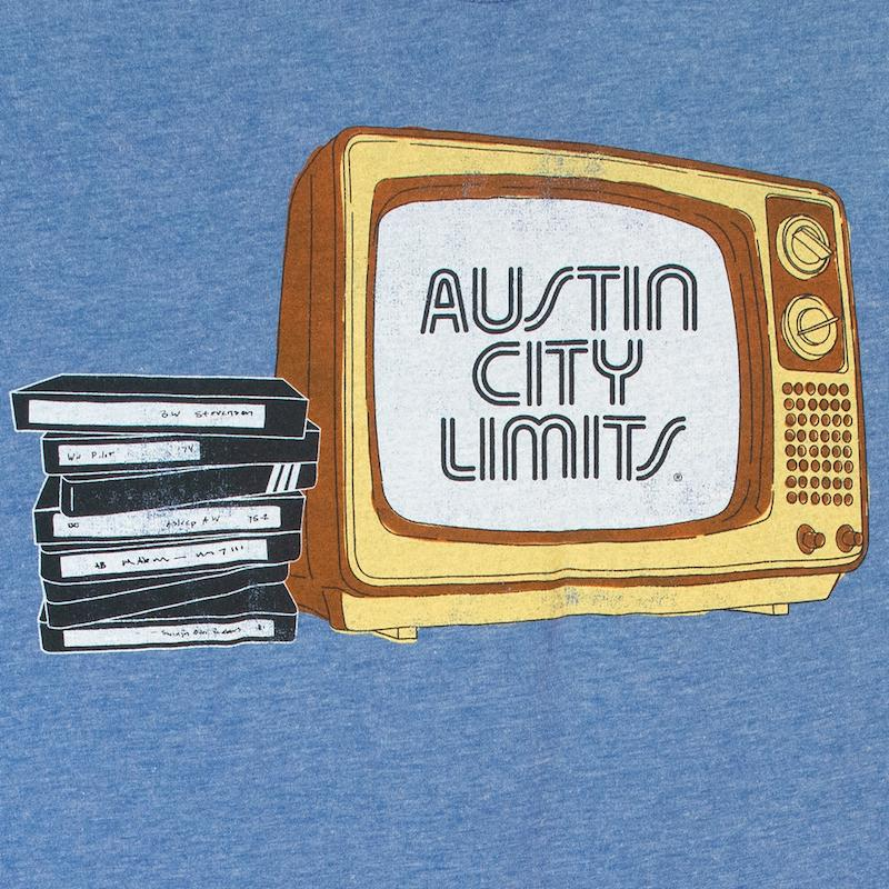 Sky Blue Unisex Tee with ACL Logo and TV + VHS Tapes
