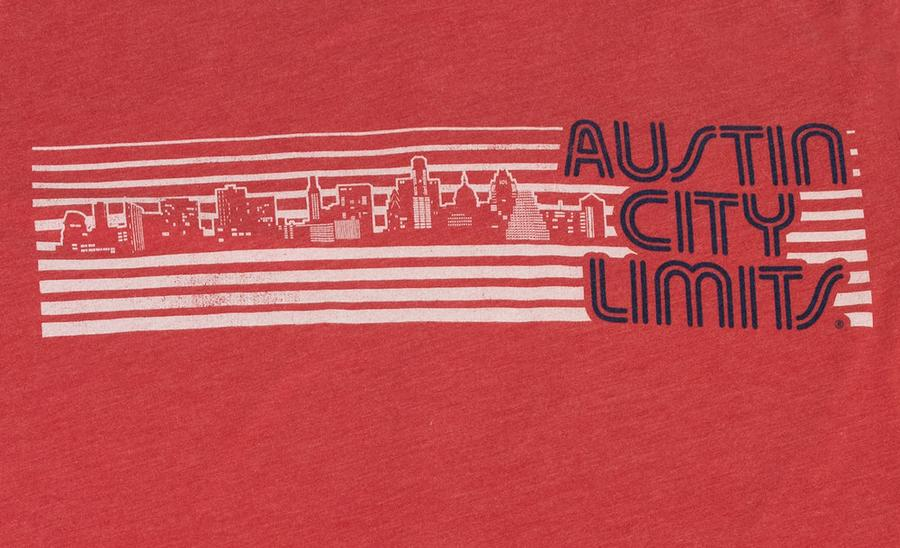 Red Unisex Tee with ACL Logo and Skyline