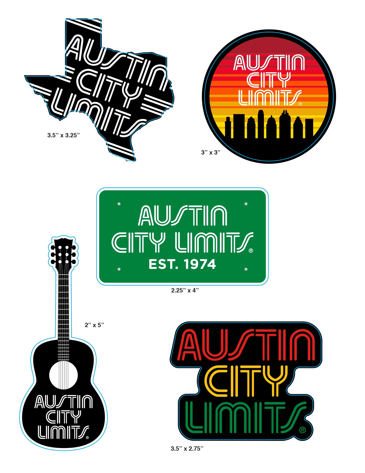 Austin City Limits Sticker 5-Pack