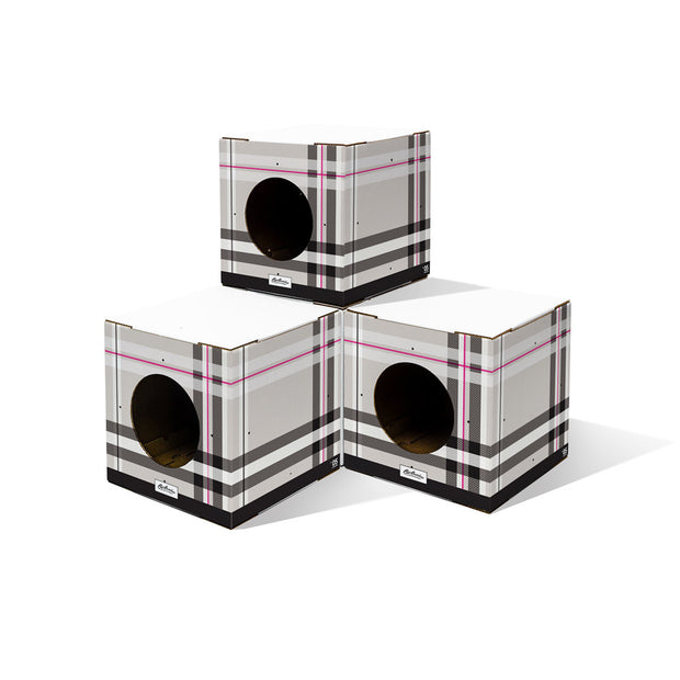 4 Pack Plaid Print Cat Box