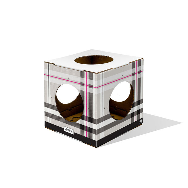 modular plaid cat box toy