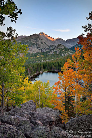Orange, yellow and green aspens in the fall looking at Longs Peak at Bear Lake in Rocky Mountain National Park near Estes Park, Colorado