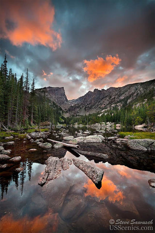 Sunset looking at Hallett Peak over Dream Lake in Rocky Mountain National Park near Estes Park, Colorado