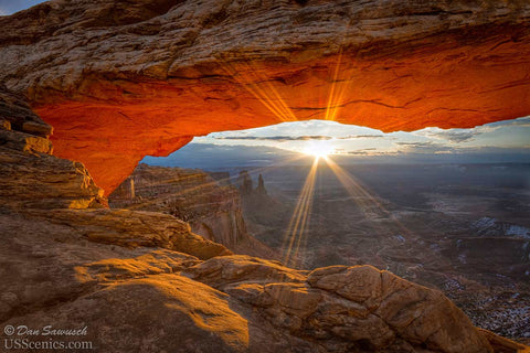 Sunrise at Mesa Arch in Canyonlands National Park near Moab, Utah