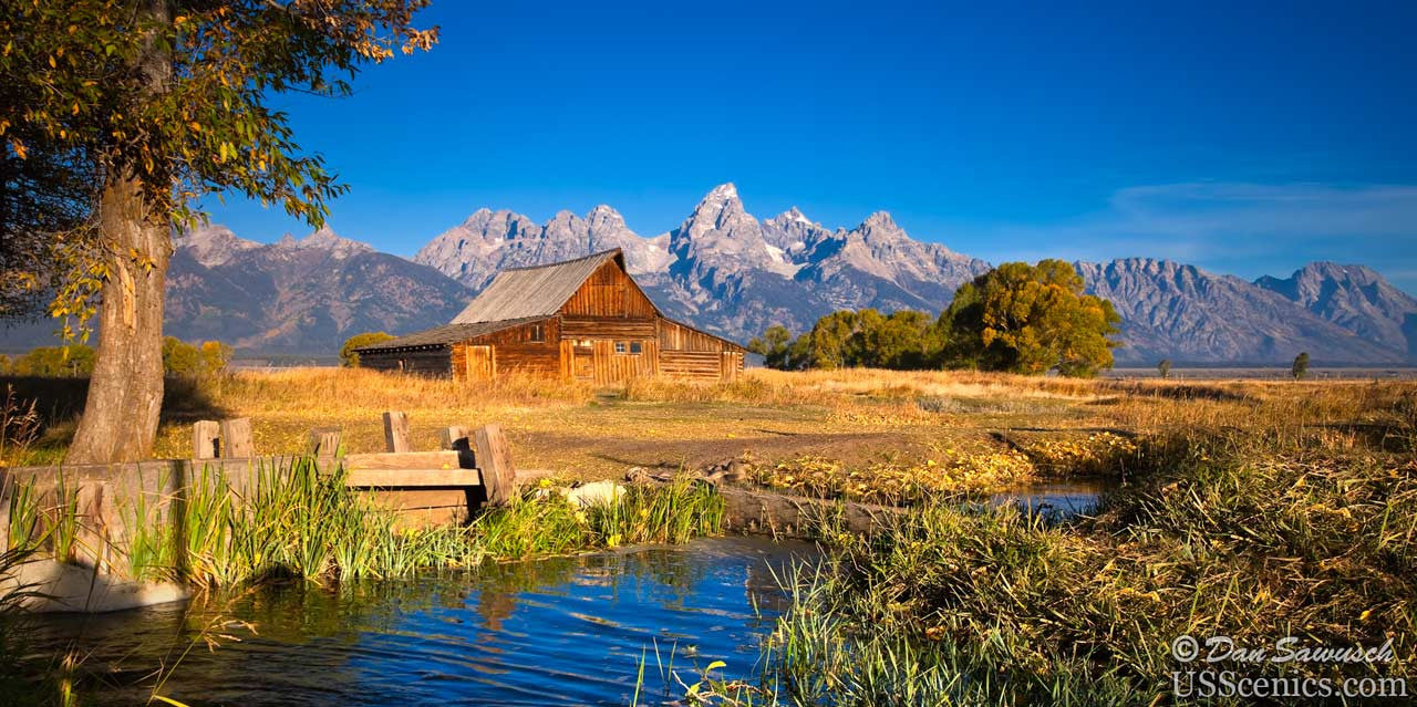 Sunrise at T.A. Moulton Barn in Grand Teton National Park near Jackson Hole, Wyoming