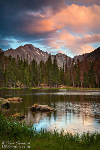 A pink summer sunset looking at Longs Peak over Nymph Lake in Rocky Mountain National Park near Estes Park, Colorado