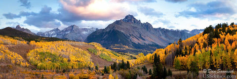 Sunset in the fall at Mt Sneffels (Dallas Divide) near Ridgway, Colorado