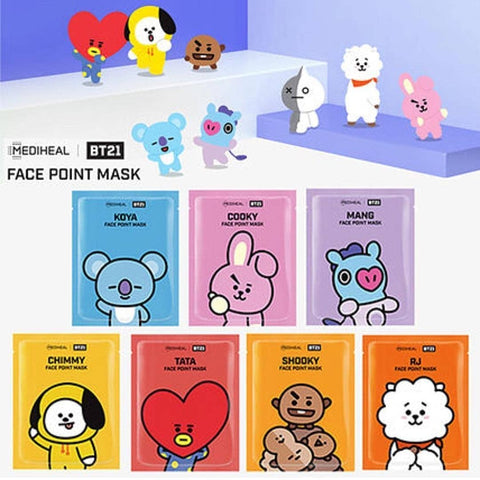 BT21 COOKY FACE POINT MASK - 4PCS