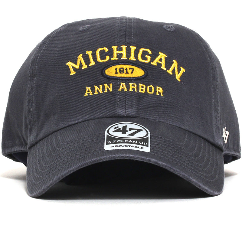 University of Michigan Wolverines Established Arch Clean Up Hat Vintage Navy