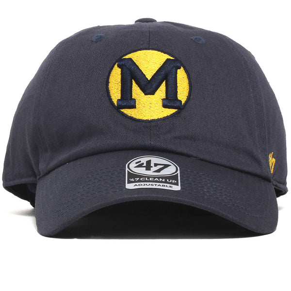 University of Michigan Wolverines Circle M Clean Up Hat Vintage Navy