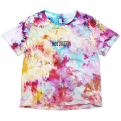 Women's Watercolor Tie-Dye Logo Box T-Shirt White / Multi