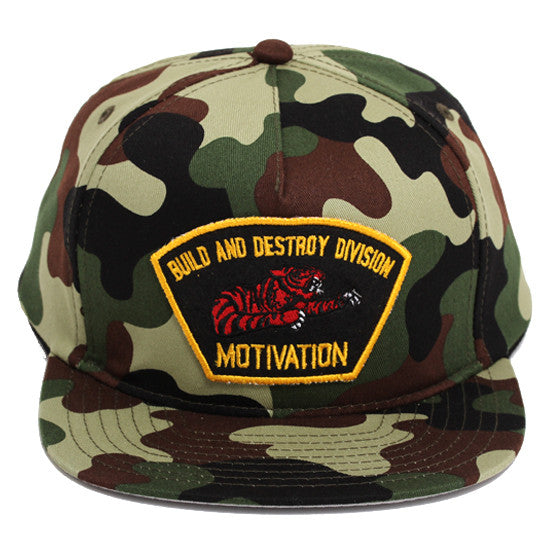 Build & Destroy Division Snapback Hat Swamp Camo