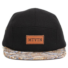 MTVTN Leather Patch 5-Panel Camp Hat Black Melton / Stone