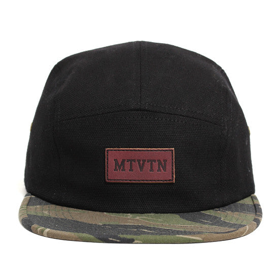 Leather Patch 5-Panel Camp Hat Black Duck Canvas / Tiger Camo
