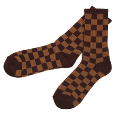Checkered Socks Brown