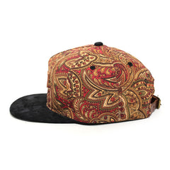 Leather Patch Strapback Hat Paisley / Black