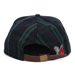 Collegiate Logo Strapback Hat Green Plaid