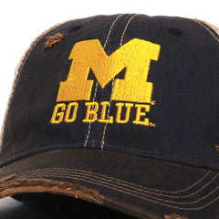 University of Michigan Big Blue Washed & Distressed Trucker Hat Navy