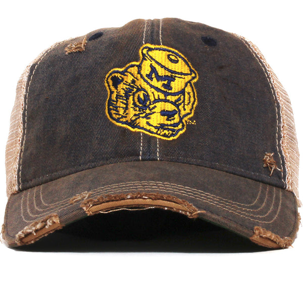 University of Michigan Wolverine Head Washed & Distressed Trucker Hat Navy
