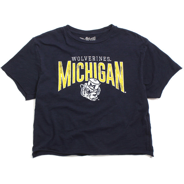 University of Michigan Arch & Wolverine Head Women's Cropped Slub T-Shirt Navy