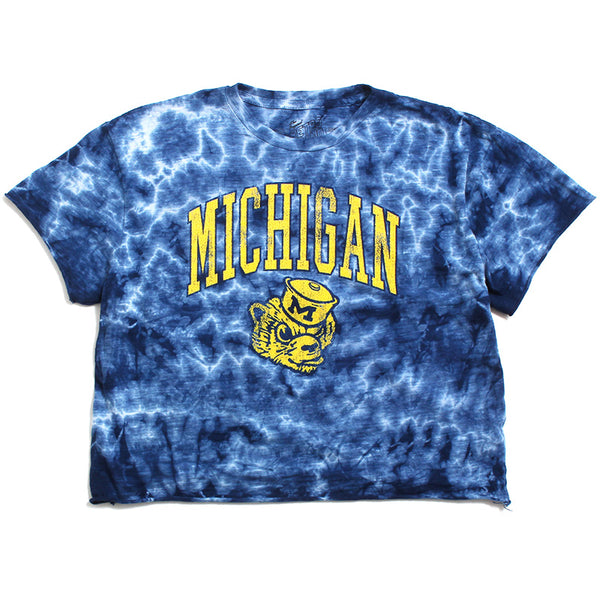 University of Michigan Wolverine Head Arch Women's Cropped Slub T-Shirt Navy Crystal Wash Tie Dye