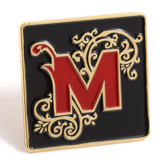 Ornate M Lapel Pin Black / Gold