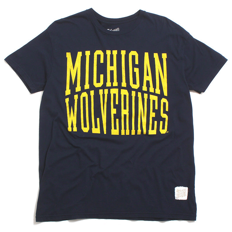 University of Michigan Wolverines Large Arc Text T-Shirt Navy