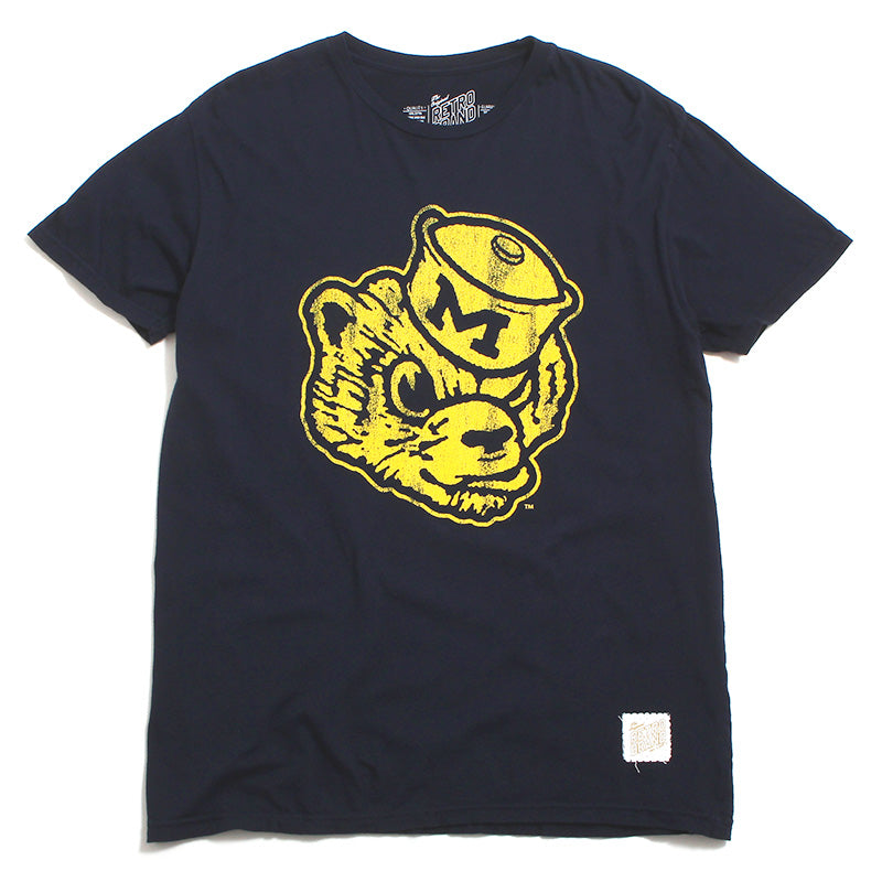University of Michigan Distressed Wolverine Head T-Shirt Navy