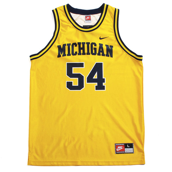 University of Michigan #54 Tractor Traylor Nike Basketball Jersey Yellow (Large)