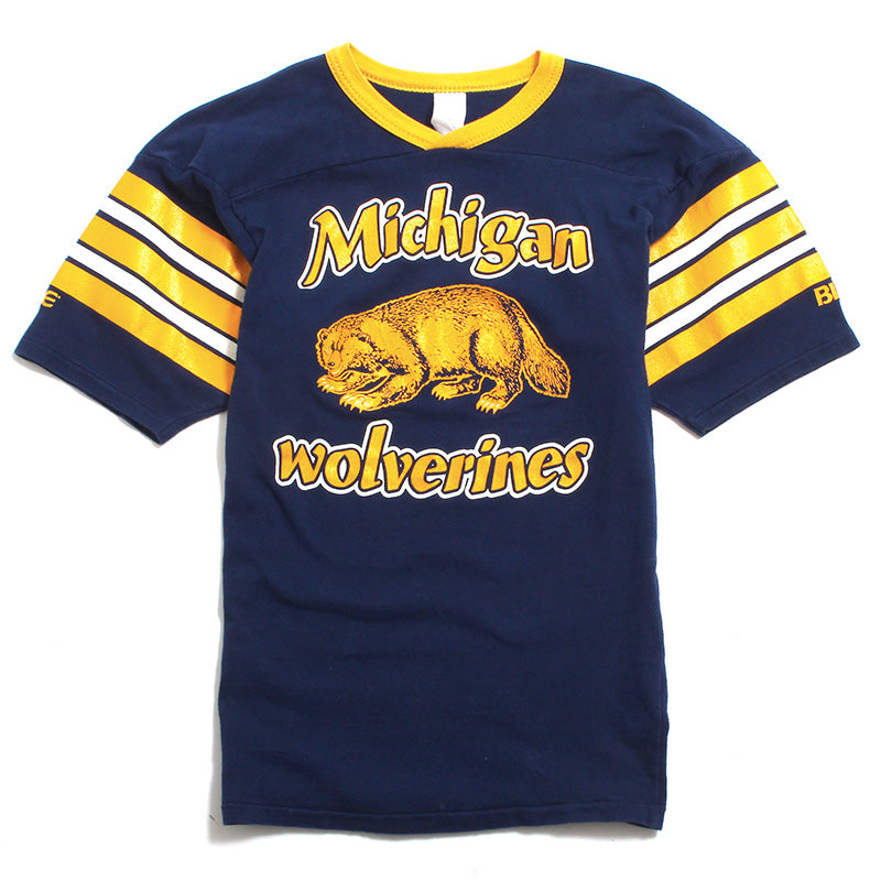 University of Michigan Golden Wolverine & Striped Sleeves Bike Football T-Shirt Navy (Extra Small)