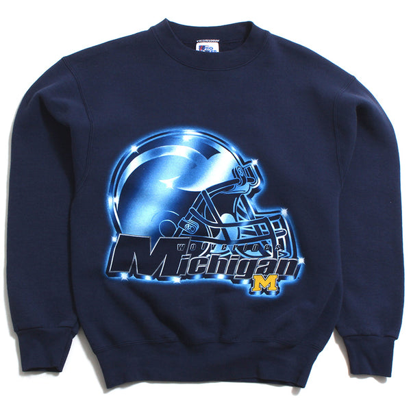 University Of Michigan Blue Metallic Helmet Pro Player Crewneck Sweatshirt Navy (Medium)