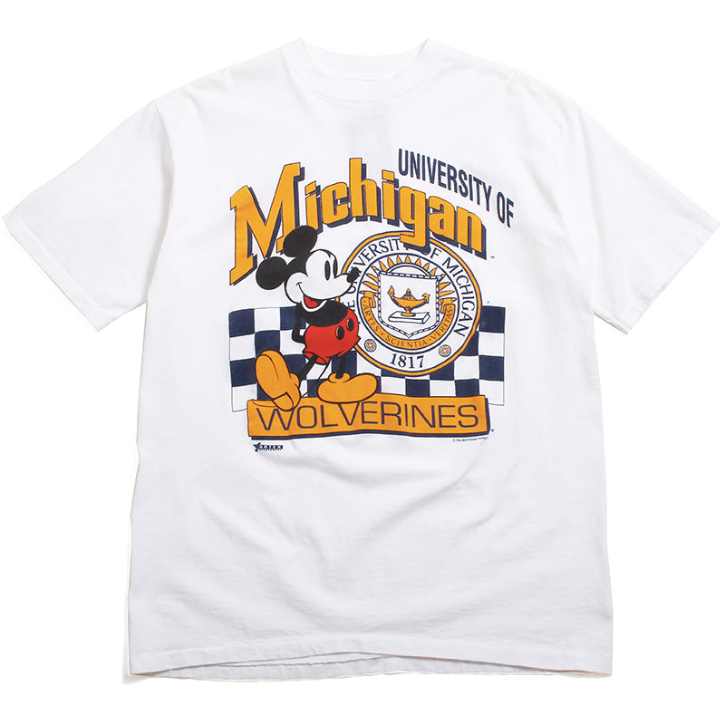 University of Michigan Mickey Mouse Seal & Checkered Design All Sport T-Shirt White (XL)