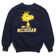 University of Michigan Woodstock Peanuts Artex Crewneck Sweatshirt Navy (Youth Large)