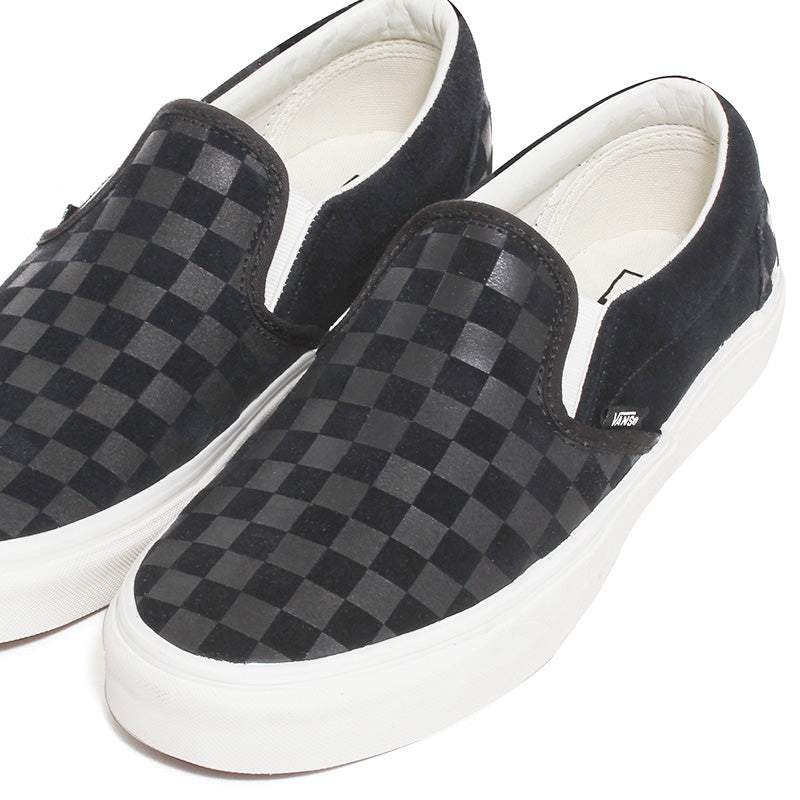 3146fdb776 Vans - Classic Slip-On Checker Emboss Sneakers Black   Marshmallow ...