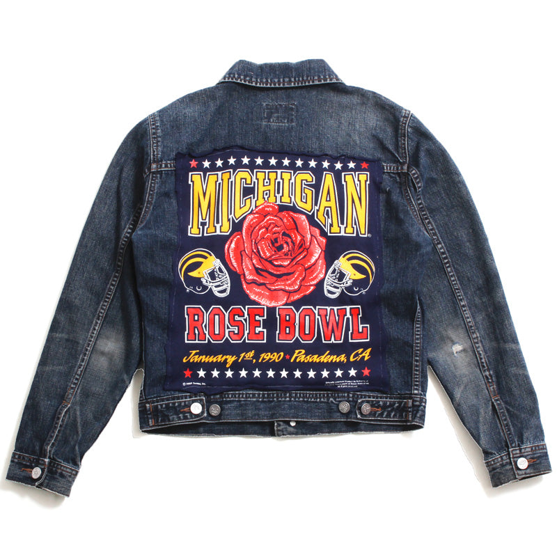 University of Michigan 1990 Rose Bowl Reconstructed Calvin Klein Jean Jacket Indigo (Women