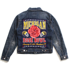 University of Michigan 1990 Rose Bowl Reconstructed Calvin Klein Jean Jacket Indigo (Women's Small)